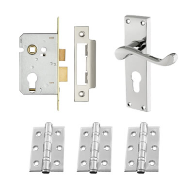 Aglio Victorian Scroll Handle Door Kit - Euro Lock Set - Polished Chrome