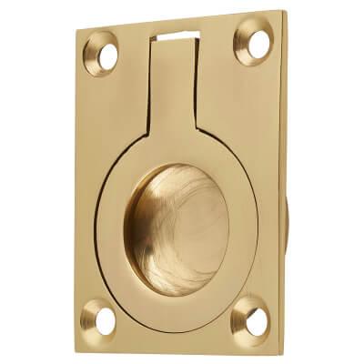 Rectangular Flush Ring Pull - 50 x 38mm - Polished Brass