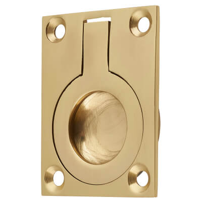 Rectangular Flush Ring Pull - 50 x 38mm - Polished Brass