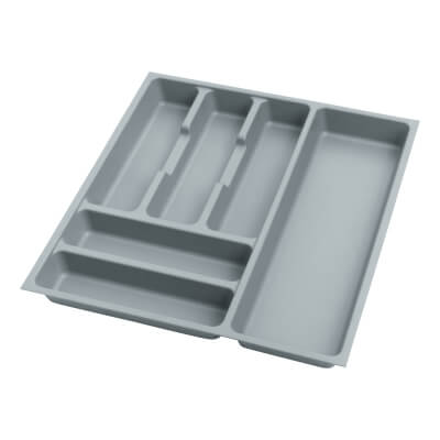 Cutlery Tray - To Suit 500mm Drawer Width - Grey Plastic