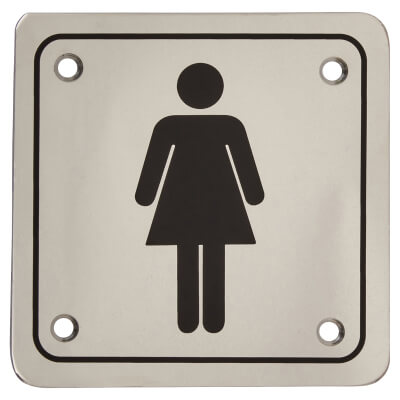 Ladies Square Toilet Door Sign - 100 x 100mm - Polished Stainless