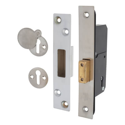 Narrow 5 Lever Deadlock - 51mm Case - 35mm Backset - Satin Stainless