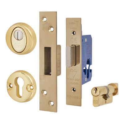 BS8621 Euro Deadlock & Thumbturn Cylinder - Case 65mm - Backset 44mm - PVD Brass - Square Forend