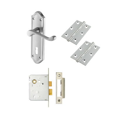 Aglio Ashmead Handle Door Kit - Keyhole Lock Set - Satin Chrome