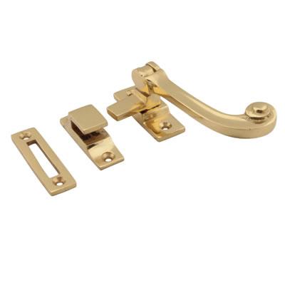 Cast Solid Curl Casement Hook & Plate Fastener - Polished Brass