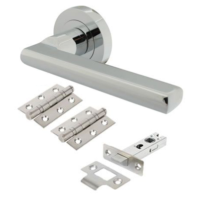 Touchpoint Sophia Lever Door Handle on Rose - Door Kit - Polished Chrome