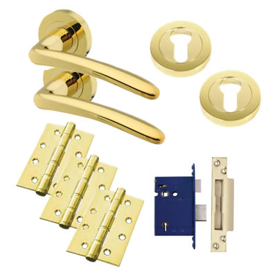Touchpoint Eloise Lever Door Handle on Rose Kit - BS3621 5 Lever Sashlock - Polished Brass
