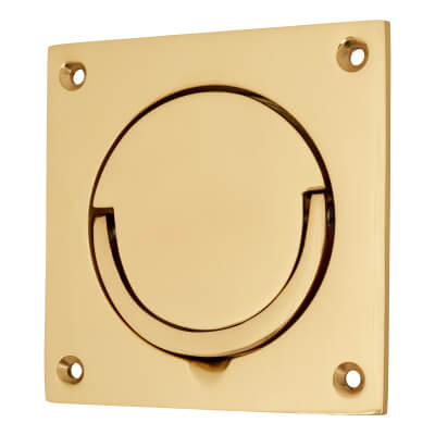 Squash Court Flush Handle - 87 x 87 x 19mm - Polished Brass