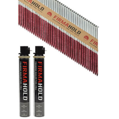 TIMco 34 Degree FirmaHold Clipped Head Nail & Gas - First Fix - 3.1 x 90mm - FirmaGalv - 2 Fuel Cells