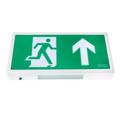Alpine LED Emergency Exit Sign - White - with Up Arrow