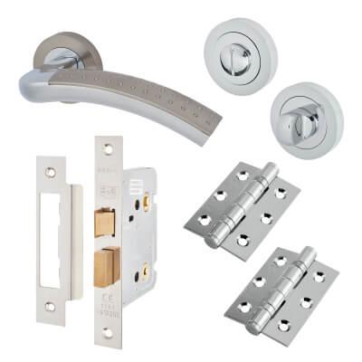 Touchpoint Madison Lever Door Handle-Bathroom Lock Kit - Satin Nickel/Pol Chrome