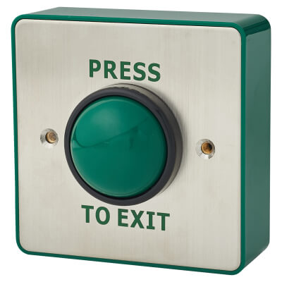 Stainless Steel Egress Switch and Green Dome - 89 x 89mm - Single Pole)