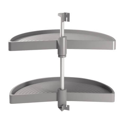 1/2 Tray Carousel Set - To Suit 800mm Cabinet - Grey Plastic