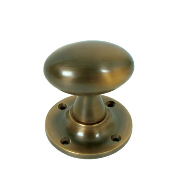 Oval Mortice Knobset - Antique Brass