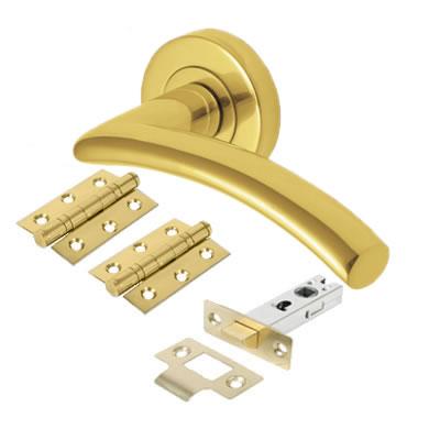 M Marcus Centaur Lever Door Handle on Rose - Door Kit - Polished Brass