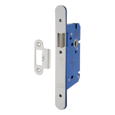 A-Spec Architectural DIN Latch - 85mm Case - 60mm Backset - Radius - Polished Stainless
