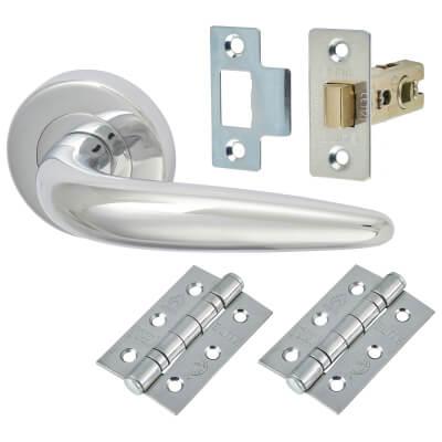 M Marcus Goccia Door Handle - Door Kit - Polished Chrome