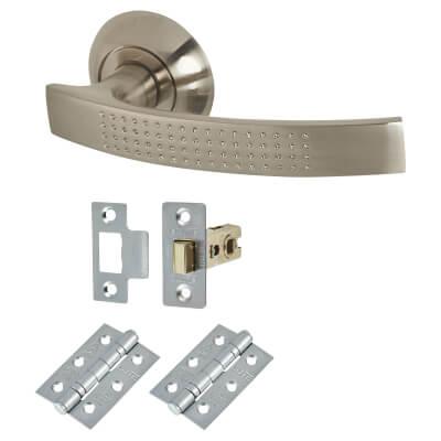 Elan Mondello Lever Door Handle on Rose - Door Kit - Satin Nickel