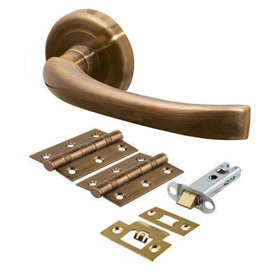 Morello Rochester Lever Door Handles on Rose - Door Kit - Antique Brass