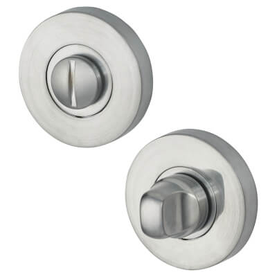 Jigtech Round Bathroom Turn & Release Set - Satin Chrome)