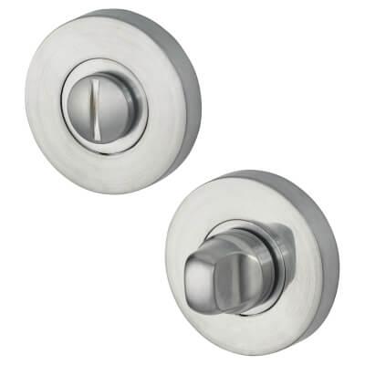 Jigtech Round Bathroom Turn & Release Set - Satin Chrome)