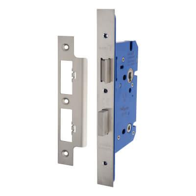A-Spec Architectural DIN Bathroom Lock - 85mm Case - 60mm Backset - Satin Stainless