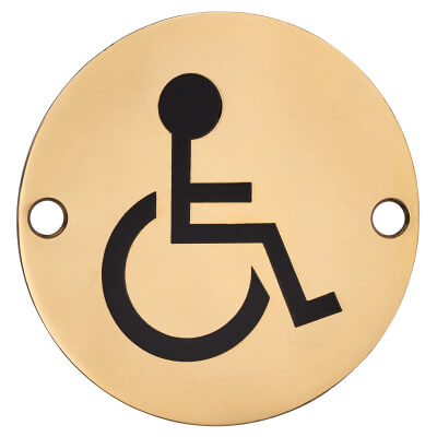 Disabled Toilet Door Sign - 75mm - Polished Brass