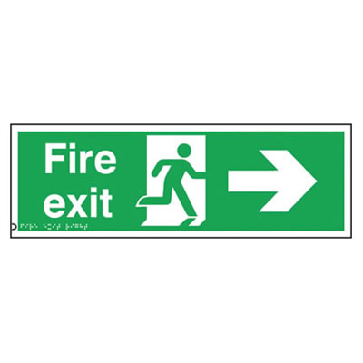 Fire Exit Sign - Right Arrow - Braille