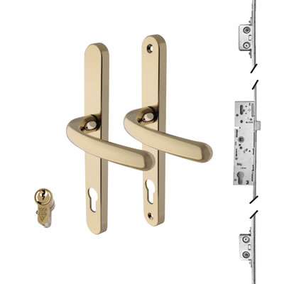 3 Point Multipoint Lock Kit with Balmoral Handle - 35mm Backset - Gold