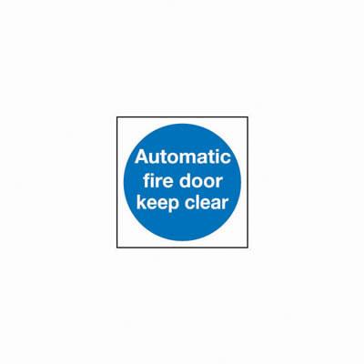 Automatic Fire Door Keep Clear - 100 x 100mm - Rigid Plastic