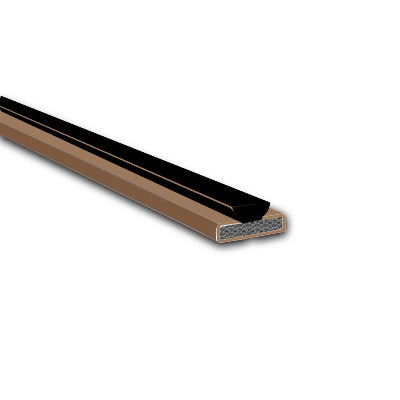 Fire & Smoke Intumescent Strip - 10 x 4 x 2100mm with Brush Pile - Brown - Pack 75