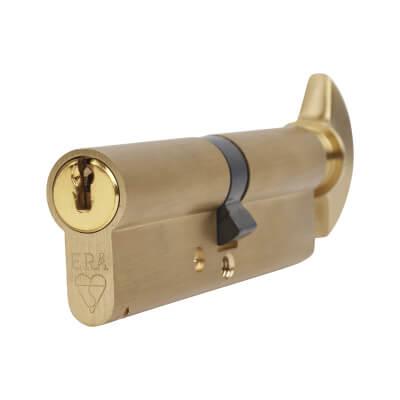 ERA 1 Star Kitemarked Cylinder - Euro Thumbturn - Length 100mm - 50[k]* + 50mm - Brass