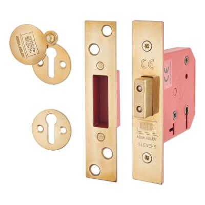 UNION® 2101 5 Lever Deadlock - Keyed Alike - 65mm - 44.5mm Backset - Brass