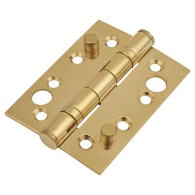 Security Ball Bearing Hinge - 102 x 76 x 3mm - PVD Brass