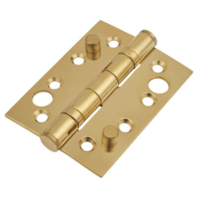 Security Ball Bearing Hinge - 102 x 76 x 3mm - PVD Brass - Pair