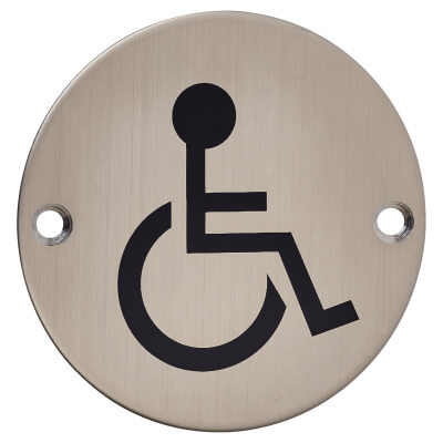 Disabled Toilet Door Sign - 75mm - Satin Stainless Steel)