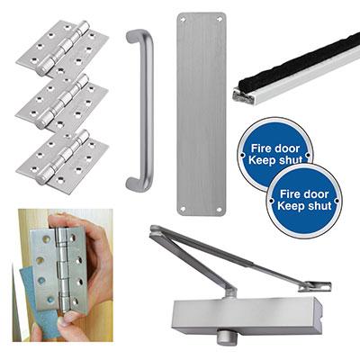 Medium Duty Pull Handle Fire Door Kit - Aluminium
