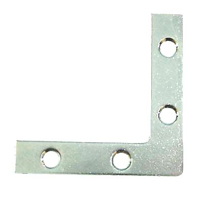 Flat Angle Corner Bracket - 50mm - Bright Zinc Plated - Pack 10