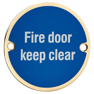 Fire Door Keep Clear - 75mm - Polished Brass