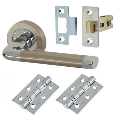 Elan - Ferro Lever Door Handle on Rose - Door Kit - Satin Nickel/Polished Chrome
