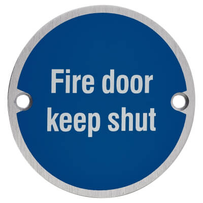 Fire Door Keep Shut - 75mm - Satin Aluminium)