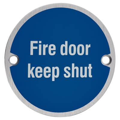 Fire Door Keep Shut - 75mm - Satin Aluminium)