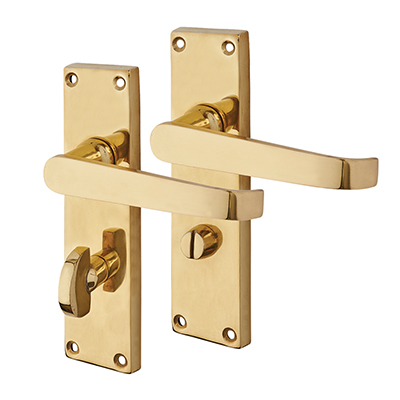 Touchpoint Budget Straight Door Handle - Bathroom Set - Polished Brass