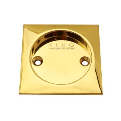 KLÜG Square Screw Fixed Flush Handle - 63 x 63mm - PVD Brass)