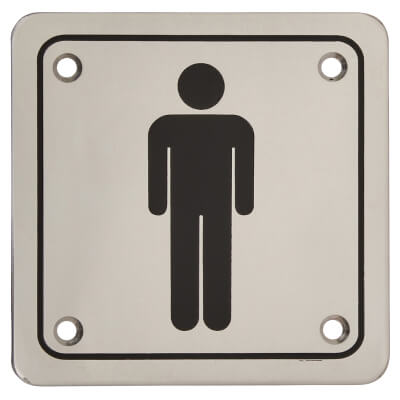 Mens Square Toilet Door Sign - 100 x 100mm - Polished Stainless