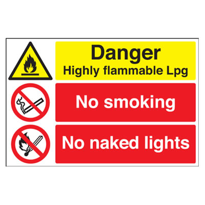 Danger Highly Flammable LPG/No Smoking/No Naked Lights - 400 x 600mm