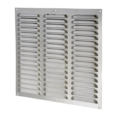 Hooded Louvre Vent - 305 x 305mm - 23750mm2 Free Air Flow - Polished Stainless