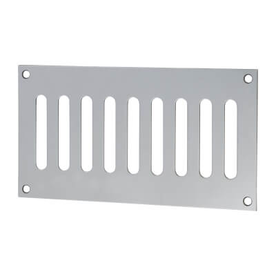 Plain Slotted Vent - 165 x 89mm - 3040mm2 Free Air Flow - Polished Stainless Steel)