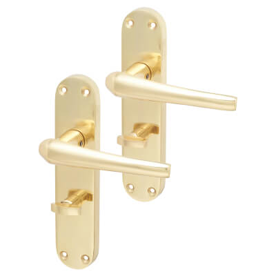 Elan Naples Door Handle - Bathroom Set - Polished Brass