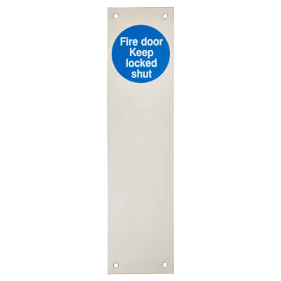 Finger Plate - Fire Door Keep Locked - 300 x 75mm - Polished Stainless Steel